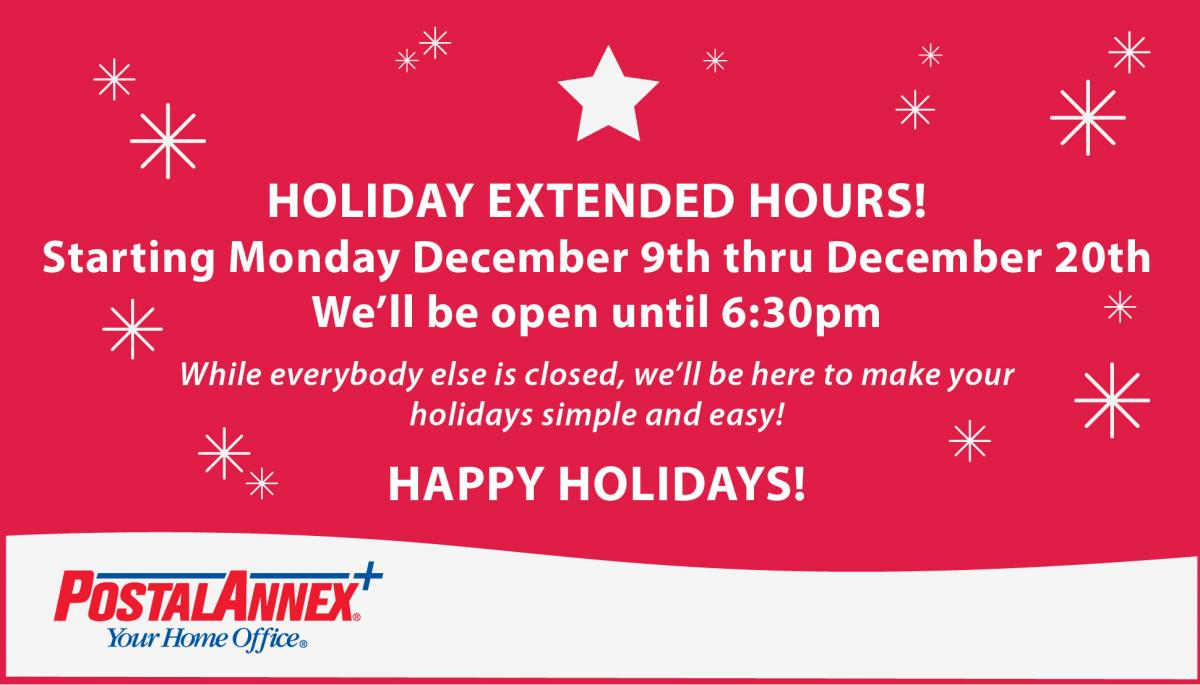 Extended Hours for the Holidays