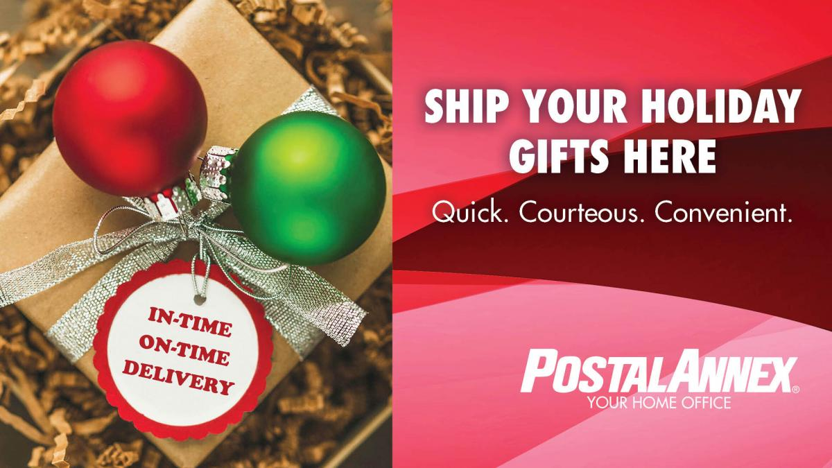 ad for holiday shipping at PostalAnnex