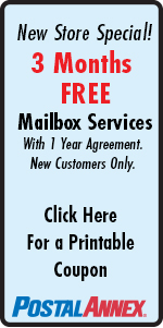 Mail Box Coupon 3 months free with 1 year agreement