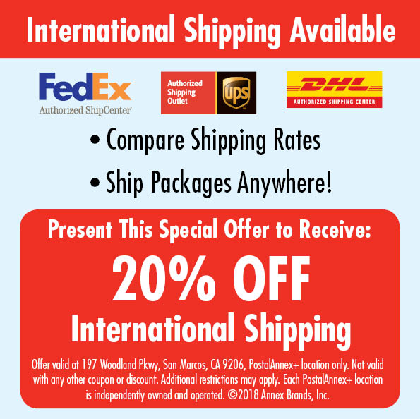 San Marcos CA International Shipping Coupon Discount