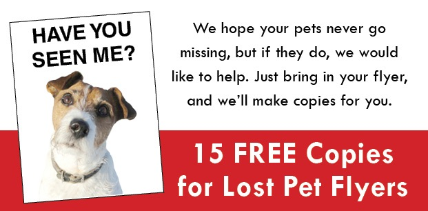 15 Free Copies for Lost Pet Flyers