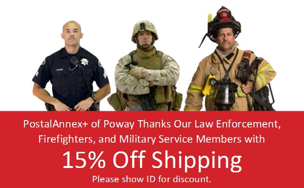 15% Off Shipping for Police Officers, Firefighters & Military